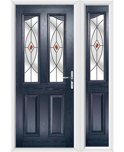 The Birmingham Composite Door in Blue with Red Fusion Ellipse and matching Side Panel