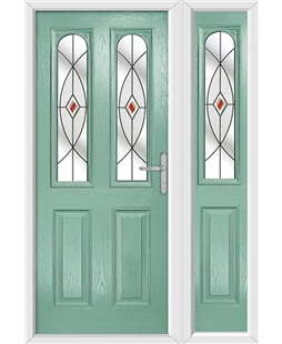 The Aberdeen Composite Door in Green (Chartwell) with Red Fusion Ellipse and matching Side Panel