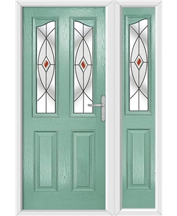 The Birmingham Composite Door in Green (Chartwell) with Red Fusion Ellipse and matching Side Panel
