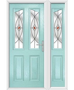 The Birmingham Composite Door in Blue (Duck Egg) with Red Fusion Ellipse and matching Side Panel