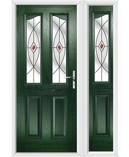 The Birmingham Composite Door in Green with Red Fusion Ellipse and matching Side Panel