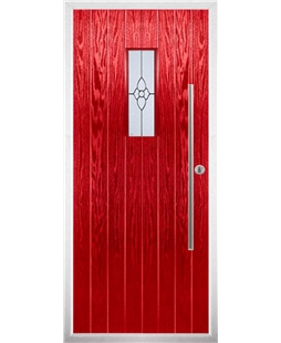 The Zetland Composite Door in Red with Finesse Glazing