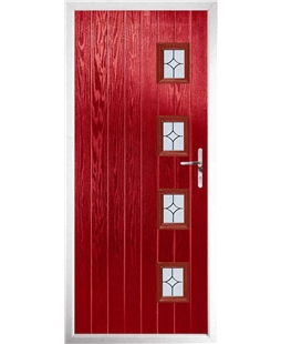 The Preston Composite Door in Red with Flair Glazing