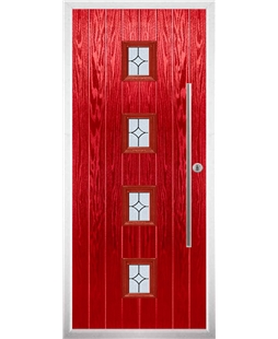 The Leicester Composite Door in Red with Flair Glazing