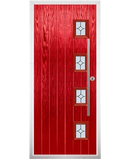 The Norwich Composite Door in Red with Flair Glazing