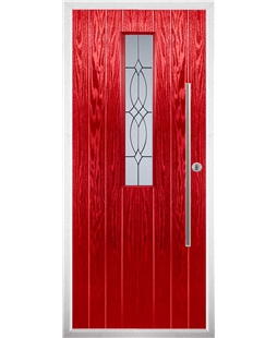 The York Composite Door in Red with Flair Glazing