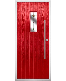 The Zetland Composite Door in Red with Fleur