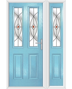 The Cardiff Composite Door in Blue (Duck Egg) with Red Fusion Ellipse and matching Side Panel