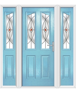 The Birmingham Composite Door in Blue (Duck Egg) with Red Fusion Ellipse and matching Side Panels