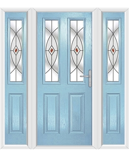 The Cardiff Composite Door in Blue (Duck Egg) with Red Fusion Ellipse and matching Side Panels