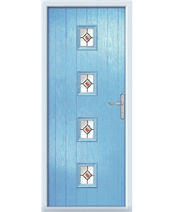 The Uttoxeter Composite Door in Blue (Duck Egg) with Red Fusion Ellipse