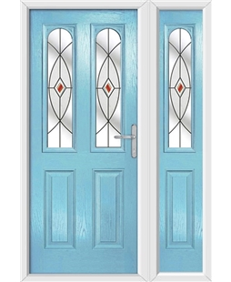 The Aberdeen Composite Door in Blue (Duck Egg) with Red Fusion Ellipse and matching Side Panel