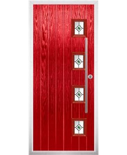 The Norwich Composite Door in Red with Green Fusion Ellipse