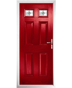 The Ipswich Composite Door in Red with Green Fusion Ellipse
