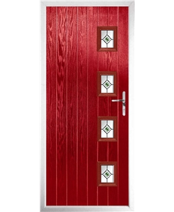 The Preston Composite Door in Red with Green Fusion Ellipse