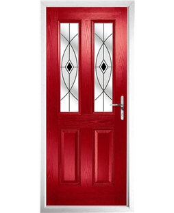 The Cardiff Composite Door in Red with Black Fusion Ellipse