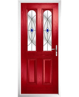 The Aberdeen Composite Door in Red with Blue Fusion Ellipse