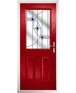 The Farnborough Composite Door in Red with Blue Fusion Ellipse