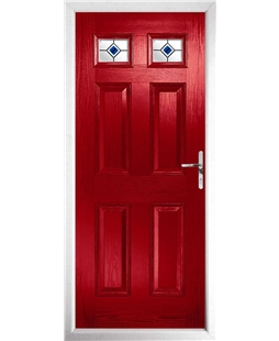 The Ipswich Composite Door in Red with Blue Fusion Ellipse