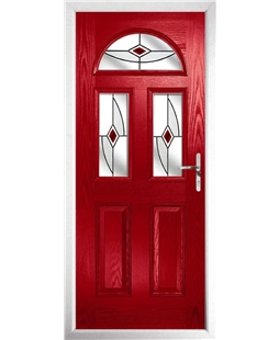 The Glasgow Composite Door in Red with Red Fusion Ellipse