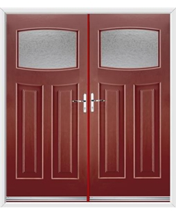Newark French Rockdoor in Ruby Red with Gluechip Glazing