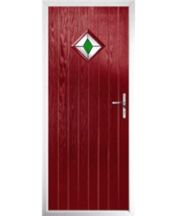 The Reading Composite Door in Red with Green Diamond