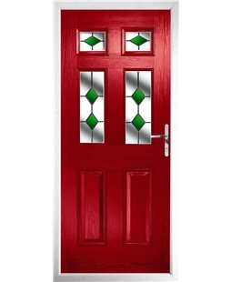 The Oxford Composite Door in Red with Green Diamonds