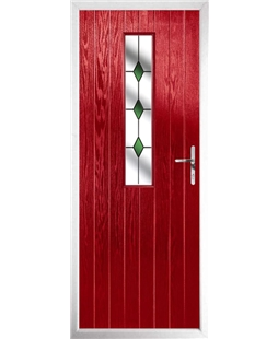 The Sheffield Composite Door in Red with Green Diamonds