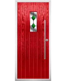 The Zetland Composite Door in Red with Green Diamonds