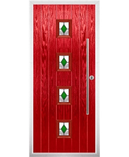 The Leicester Composite Door in Red with Green Diamonds
