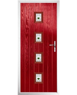 The Uttoxeter Composite Door in Red with Green Murano