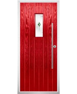 The Zetland Composite Door in Red with Green Murano