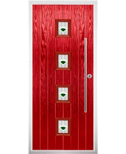 The Leicester Composite Door in Red with Green Murano