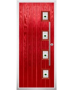 The Norwich Composite Door in Red with Green Murano