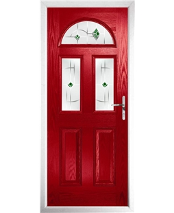 The Glasgow Composite Door in Red with Green Murano