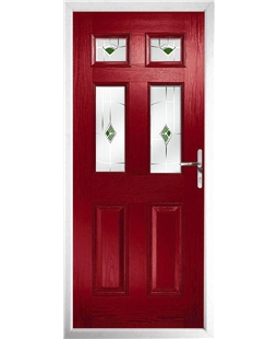 The Oxford Composite Door in Red with Green Murano