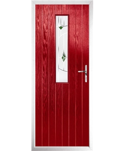 The Sheffield Composite Door in Red with Green Murano