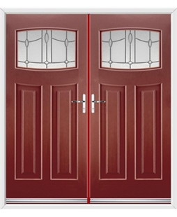 Newark French Rockdoor in Ruby Red with Lantern Glazing