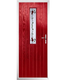 The Sheffield Composite Door in Red with Mackintosh Rose