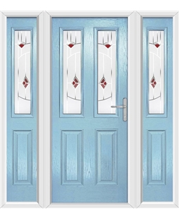 The Cardiff Composite Door in Blue (Duck Egg) with Red Murano and matching Side Panels