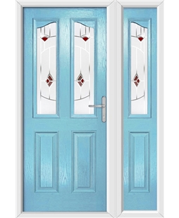 The Birmingham Composite Door in Blue (Duck Egg) with Red Murano and matching Side Panel