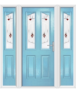 The Birmingham Composite Door in Blue (Duck Egg) with Red Murano and matching Side Panels