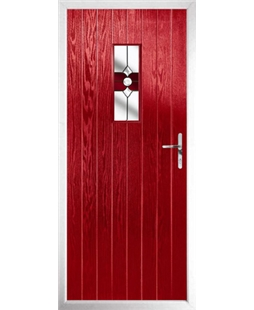 The Taunton Composite Door in Red with Red Crystal Bohemia