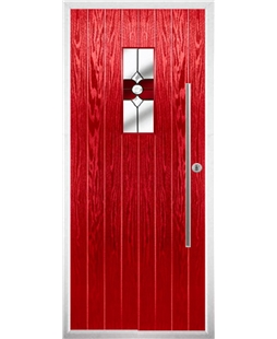 The Zetland Composite Door in Red with Red Crystal Bohemia
