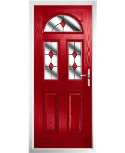 The Glasgow Composite Door in Red with Red Diamonds