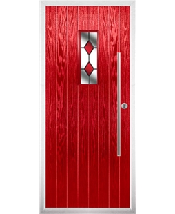 The Zetland Composite Door in Red with Red Diamonds