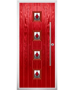 The Leicester Composite Door in Red with Red Diamonds