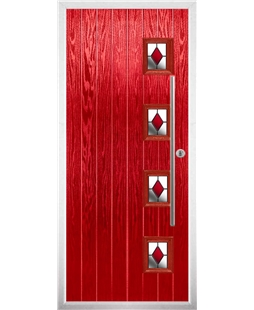 The Norwich Composite Door in Red with Red Diamonds