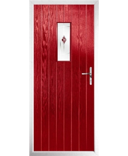 The Taunton Composite Door in Red with Red Murano