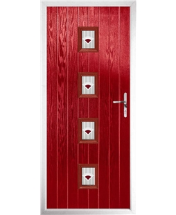 The Uttoxeter Composite Door in Red with Red Murano